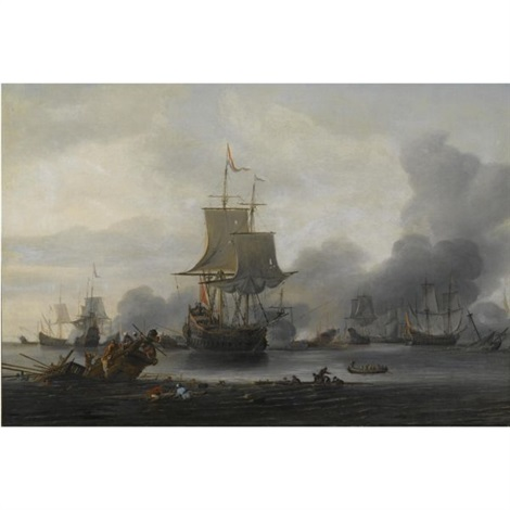 a naval battle in a calm sea with a dutch man o war firing a canon and a shipwreck in the foreground by zeeman