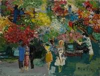 scène dans un parc; jeunes femmes au bouquet (2 works) by pola aivazian-rossi