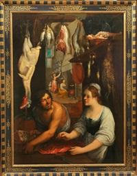 cuciniera e servitore con cacciagione di pesce by astolfo petrazzi