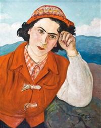 portret kobiety w czerwonym serdaku by vlastimil hofmann