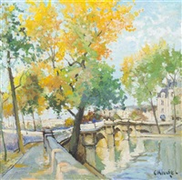 changing leaves on a riverside by constantine kluge