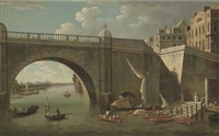a view through westminster bridge looking west towards lambeth palace, with figures and boatmen in the foreground by samuel scott