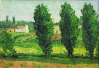 landscape with poplars at colentina by hrandt avachian