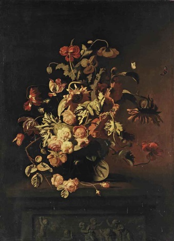 roses poppies sunflowers tulips peonies and other flowers in a glass vase on a stone ledge with a frieze depicting putti playing with a goat by simon pietersz verelst