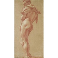 standing male nude seen from behind by pietro faccini