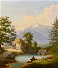 weideidyll mit blick auf eine gebirgskette by jakob roedler