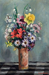 mixed flowers in pot on checked cloth by nora heysen