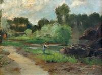 pêcheur en bord de rivière by angelo asti