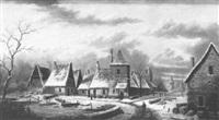 village animé sous la neige by a. lenoir
