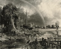 the rainbow, salisbury cathedral (after john constable) by david lucas