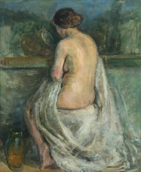 female nude holding a mirror by mogens gad