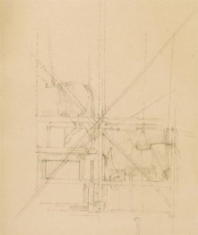 horse statue under scaffolding (+ bomb damaged buildings, insc., smaller; 2 works) by william coldstream