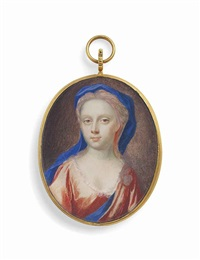 a young lady, in pale orange dress, blue sash over her shoulder, wearing a blue veil by benjamin arlaud
