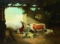 viehstall mit blick auf ein gebirge by conrad bühlmayer