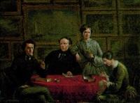 familj framför sin målerisamling by joseph de groot
