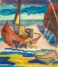 strandleben mit booten by karl lohse