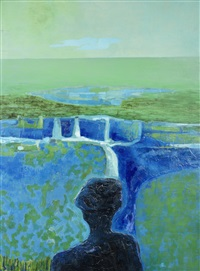 landscape in blues & greens by arthur armstrong