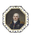 louis xviii (1755-1824), king of france and navarre (1814-1824), wearing blue double-breasted coat with gold epaulettes, breast star of the order of saint-esprit... by jean baptiste jacques augustin