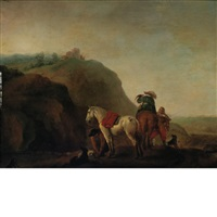 a pause on a falcon hunt by pieter wouwerman