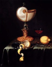 still life with a nautilus cup, a peeled lemon on a pewter plate, nuts, a knife, a glass, all on a table draped with a green cloth by maerten boelema de stomme