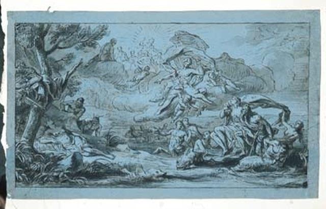 vénus commandant aux amours de toucher amphitrite et diane de leurs flèches by antoine dieu