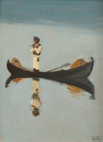 muikkuja vartoomassa man fishing by akseli valdemar gallen kallela