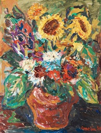 still life with sunflowers by albin amelin