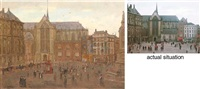 a busy day on dam square with the nieuwe kerk and the royal palace, amsterdam by felicien bobeldyk
