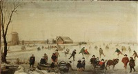 a winter landscape with skaters on a frozen river, a windmill and other buildings beyond by hendrick avercamp