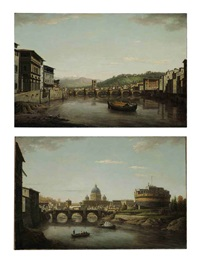 view of florence from the ponte vecchio looking up the arno... (+ view of rome with saint peter's and the castel sant'angelo seen from the tiber; pair) by william marlow