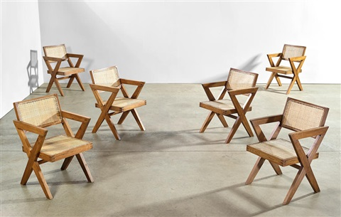 Set Of Six Office Armchairs By Pierre Jeanneret