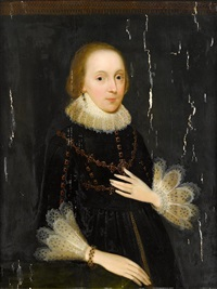 portrait of a lady, half length in a black dress with a lace-trimmed ruff by anglo-flemish school (16)