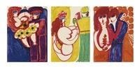 los von drei werken: foule délirante kennedy, um 1963-64 sirène de trévy, um 1963-64 sous les lampions, um 1963-64 (3 works) by aloise