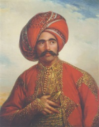 portrait of a gentleman in anglo-indian costume by william henry florio hutchinson