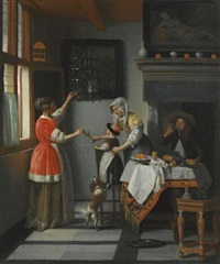 interior with a child feeding a parrot by pieter de hooch