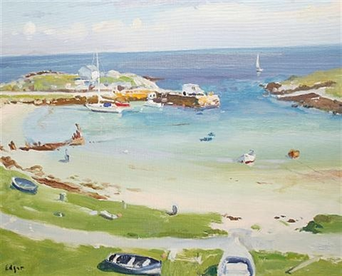 scarnish harbour tiree by norman edgar