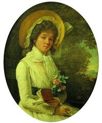 portrait de jeune femme en robe blanche sur fond de paysage by marie-victoire lemoine