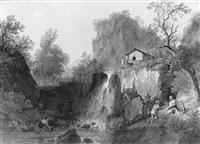 paysans près d'une cascade by louis gadbois
