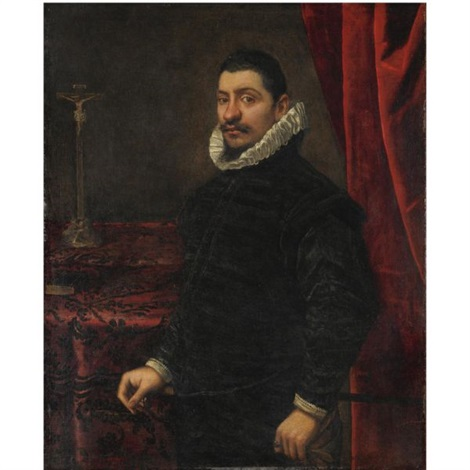 ritratto maschile con crocefisso by domenico tintoretto