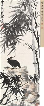 竹石八哥 立轴 设色纸本 (bird) by li kuchan