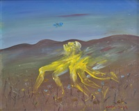 yellow nebuchadnezzar running in a hilly landscape by arthur merric bloomfield boyd