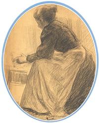 femme accroupie, étude pour le bain de frédéric (study) by maximilien luce