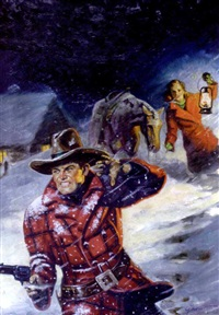 couple and horse in blizzard, he firing at an unseen attacker by george gross