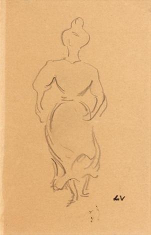 femme au chignon soulevant sa robe by louis valtat