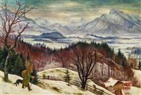salzburger berge im winter by albert birkle