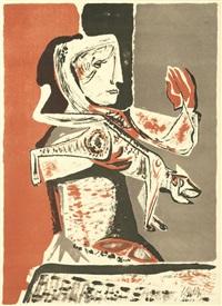 woman with cat by robert colquhoun