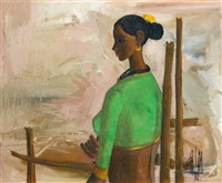 untitled (woman in green) by b. prabha