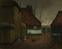 a farmer and his chickens on a farmyard by eduard karsen