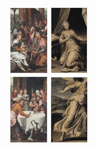 the adoration of the magi (recto) and the circumcision (recto) and the annunciation (verso, across both panels) (2 works) by pieter aertsen
