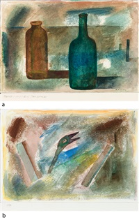 a) two bottles b) untitled (2 works) by prabhakar barwe